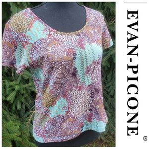 Evan Picone funky abstract geometric tie dye top
